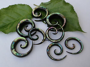 1-PAIR-ORGANIC-HORN-ABALONE-SHELL-INLAY-SPIRALS-STRETCHER-TAPER-EAR-PLUGS-GAUGES