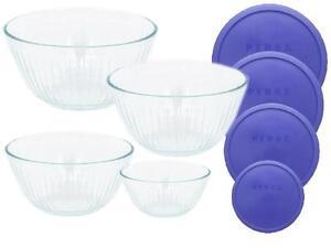8-pc-PYREX-Clear-SCULPTURED-Glass-Mixing-Bowl-Set-4-5-Qt-10-6-3-Cup-BLUE-Lids