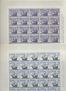 SPAIN-1964-SHIPS-5-vals-in-MINT-FULL-SHEETS-125-stamps