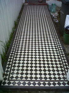 1 x Reproduction Victorian Floor Tiles, Black or White 53mm Square ...