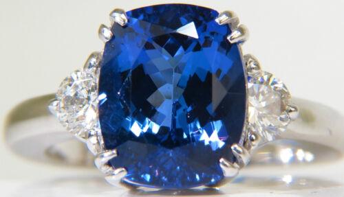 █$12400 NATURAL 4.33CT TANZANITE DIAMOND RING HALF MOON SIDES VS A+ LUSTER