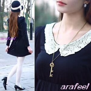 PETER-PAN-Crochet-ivory-lace-cream-collar-Mixed-Contrast-mini-dress-top-VINTAGE
