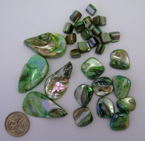 Lustre Shell Bead  Mix FERN GREEN Chunks Teardrops 28 Pieces NEW