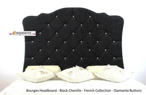 Bourges Chenille Wall Fixing Panel Headboard Diamante Buttons French Collection