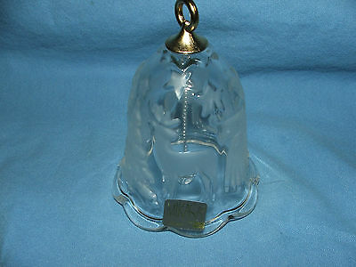 """Mikasa Christmas Holiday Angel Stars Reindeer Frosted Crystal Glass Bell 4 1/2""""T"""