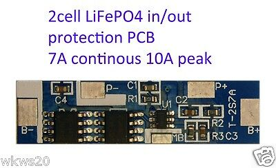 2 cell 7A LiFePo4 Lithium ion phospate Battery Input Ouput Protection PCB A123