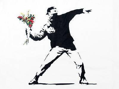 Banksy Flower Bomber Canvas Print A4 Size (297 x 210mm)