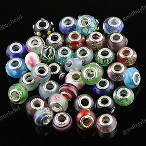 WHOLESALE-LOTS-MIXED-MURANO-LAMPWORK-GLASS-SILVER-FINDINGS-EUROPEAN-CHARM-BEADS