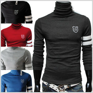 TRP-TheLees-Mens-casual-Button-Decoration-Turtle-Neck-Slim-Fit-Basic-Tshirts