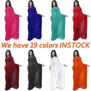 Chiffon-Party-Wear-Saree-Sari-Belly-Dance-Fabric-Drape