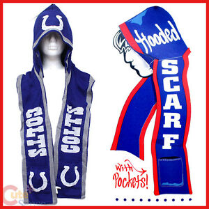 Nfl Indianapolis Colts Hooded Knit Scarf W Pocket Beanie