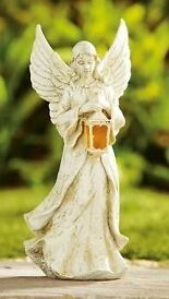 Outdoor Garden Solar Powered Angel and Lantern With Wings & Amber LED Lantern
