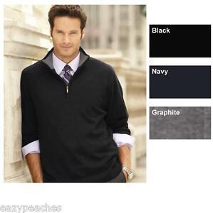 Weatherproof-Mens-S-2XL-Cotton-1-4-Zip-Heathland-Sweater-Jumper-Navy-Black-Gray