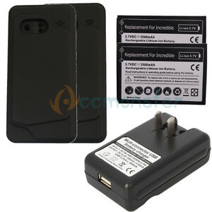 New-2x-3500mAh-Extended-Battery-Charger-for-HTC-Droid-Incredible-Black