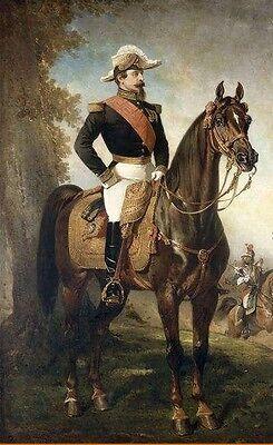 Art oil painting Alfred Dedreux - Emperor Portrait Napoleon III on horse in view