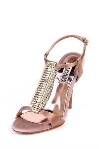 Badgley-Mischka-265-JAVA-NATURAL-Heel-Sandal-Shoes-Satin-T-strap-crystal-Jewel