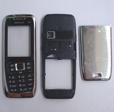 NEW Silver Cover Housing Case For Nokia E51+Keypad+Tool