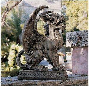 Image Is Loading Gothic European Gargoyle Statue Medieval Glaring Gaze  Garden