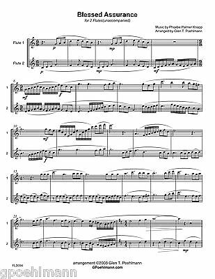 6 hymn arrangements for FLUTE DUET.  Sheet music with FREE US shipping!