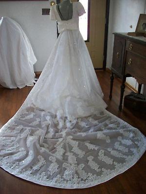 Sz 12 Mori Lee White Satin beaded bridal  w/ train