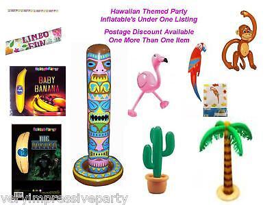 HAWAIIAN INFLATABLES PARTY DECORATIONS Monkey, Banana, Parrot Palm Tree