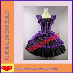 Victorian-Gothic-Lolita-Cotton-Purple-Dress-Ball-Gown-Knee-length-dress