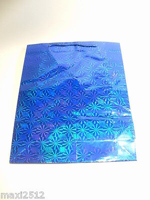 REDUCED TO CLEAR 12 x Metallic Hologram Gift Bags:PBG11 Blue 16 x 12 (SMALL)