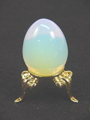 BUTW Opalite mini egg 18 x 25 mm with gold tone stand lapidary 3911