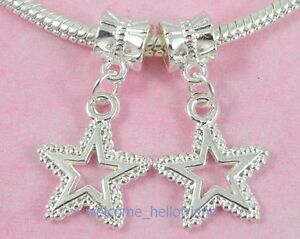 35pcs-Silver-Plated-Star-Dangles-Charm-Fit-Bracelet-SY37
