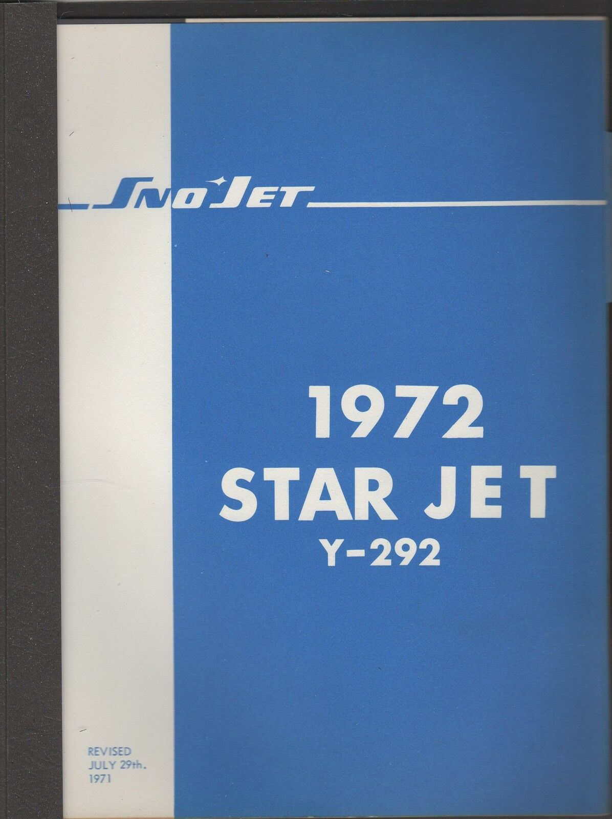 1972 SNO-JET SNOWMOBILE STAR JET Y-292 ENGINES   PARTS MANUAL  the classic style