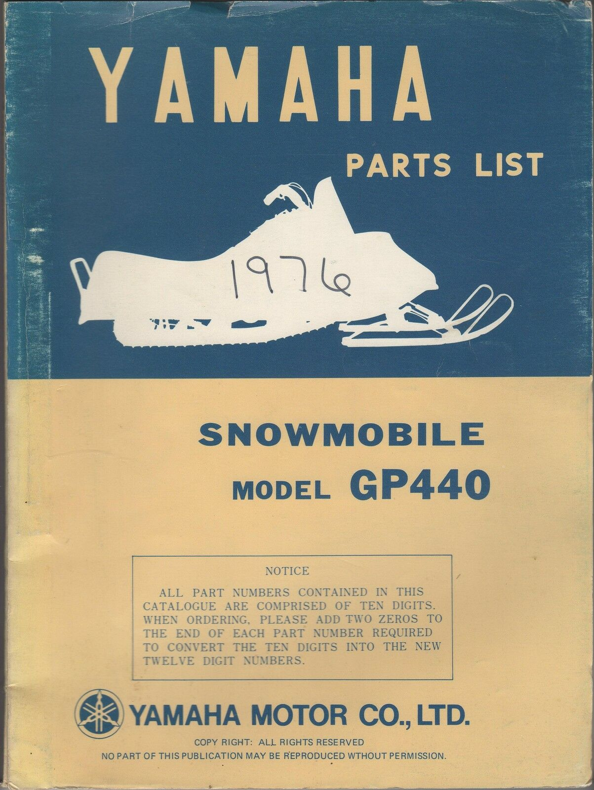 1976 VINTAGE  YAMAHA SNOWMOBILE GP440 PARTS MANUAL  everyday low prices