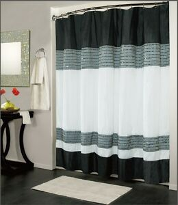 IBIZA-BLACK-WHITE-LUXURY-FABRIC-SHOWER-CURTAIN-BATHROOM-ACCESSORIES-70-034-x-72-034