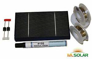 Learn to build your own 70W solar panel DIY Solar Cell Kit with Bus, Flux, Pen