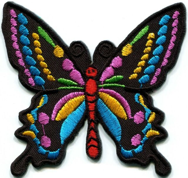 Butterfly 70s hippie boho retro love peace groovy applique iron-on patch new G-5