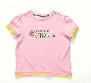 John deere childs girls pink flower t shirt 9 10 years ebay for John deere shirts for kids