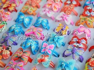 FREE-Wholesale-lots-Jewerly-100pcs-Colorful-Butterfly-polymer-clay-Children-Ring