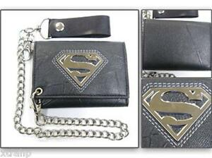 Superman-Trifold-Mens-Leather-Chain-Wallet-w-METAL-BADGE-EMBROIDERY