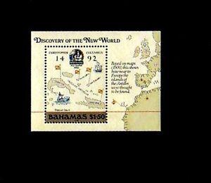 BAHAMAS-1989-COLUMBUS-MAP-AMERICA-SHIP-MINT-S-SHEET