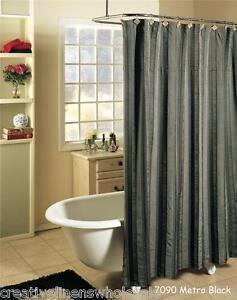 Metro Stripe Black Gray Fabric SHOWER CURTAIN FREE S H EBay