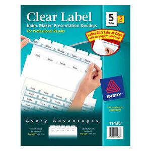 Details about Avery/Dennison Clear Label Index Maker Dividers 5-Tabs/4SETS  #11436