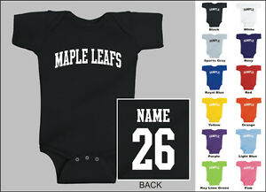 Maple-Leafs-Baby-One-Piece-Creeper-Romper-Personalized-Custom-Name-amp-Number