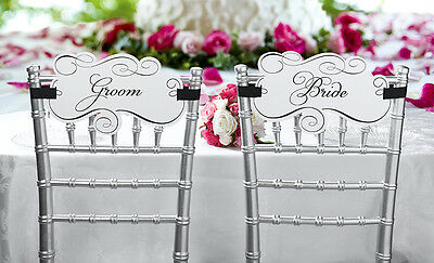 Pair of Bride and Groom Chair Signs Gift Wedding Reception Decoration