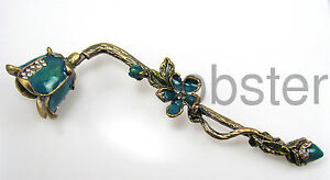 FANCY-ENAMEL-amp-CRYSTAL-FLORAL-TWIG-DESIGN-CANDLE-SNUFFER-NEW-IN-GIFT-BOX-BLUE
