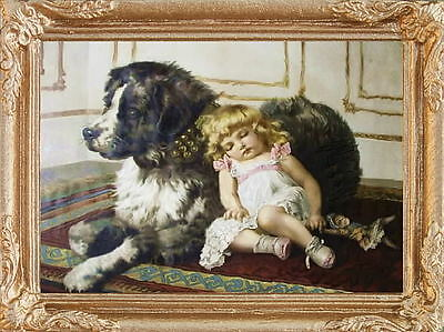 GIRL'S PILLOW DOG  Dollhouse Picture - Miniature Framed Art - MADE IN AMERICA