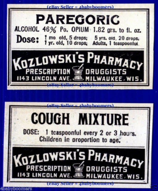 Paregoric OPIUM Labels KOZLOWSKI Pharmacy MILWAUKEE WI