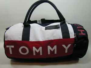 NWT-Tommy-Hilfiger-Large-Duffle-Bag-Blue-amp-Red-Gym-Trav