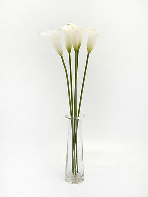 CALLA LILY  BUNDLE OF 5 SINGLE STEMS - WHITE - ARTIFICIAL FLOWER
