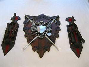 Vintage-Medieval-Dark-Ages-3-piece-Wall-Hanging-Mace-Club-Ball-Mace