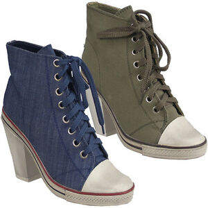 WOMENS-LADIES-BLUE-KHAKI-GREEN-TRAINERS-HEEL-CANVAS-SHOE-ANKLE-BOOTS-3-8