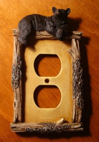 ELECTRICAL OUTLET PLATE COVER Black Bear U0026 Rustic Lodge Wood Cabin Home  Decor